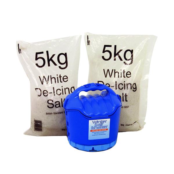 Handheld Salt Shaker and 2xBags of White Salt 5kg 389106
