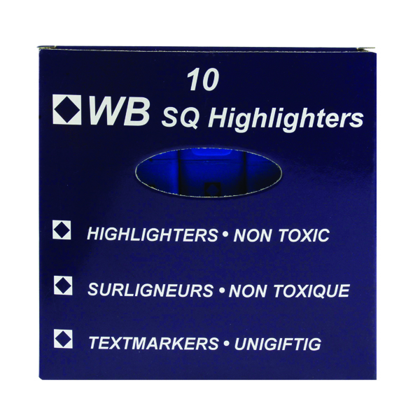 10 x Blue Hi-Glo Highlighter Pens (Vibrant and bright colours, non toxic) 844003