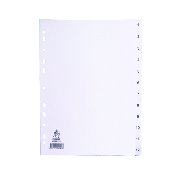 A4 White 1-12 Polypropylene Index WX01354