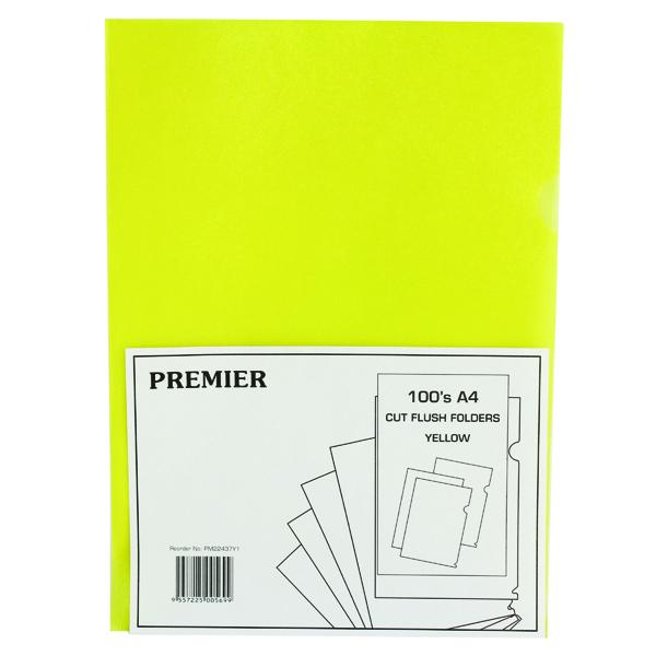 Yellow Cut Flush Folders (Pack of 100) WX01487