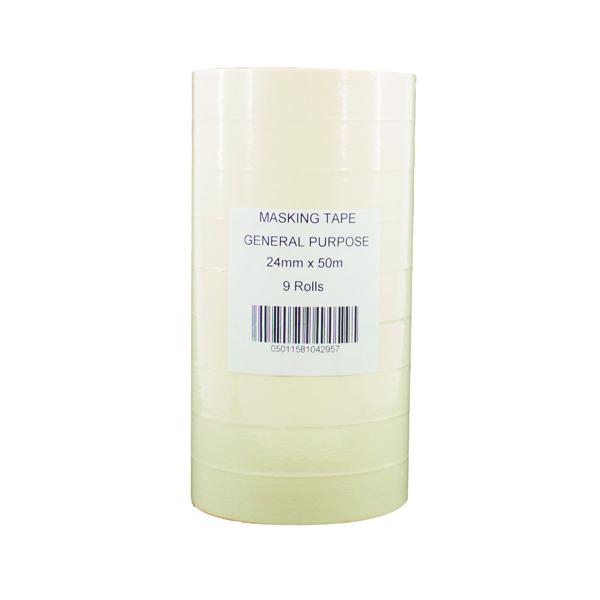 General Purpose 25mmx50m White Masking Tape (Pack of 9) 07517