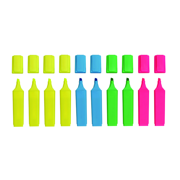 10 x Assorted Hi-Glo Highlighter (Chisel tip for variable line width) 8440PK10