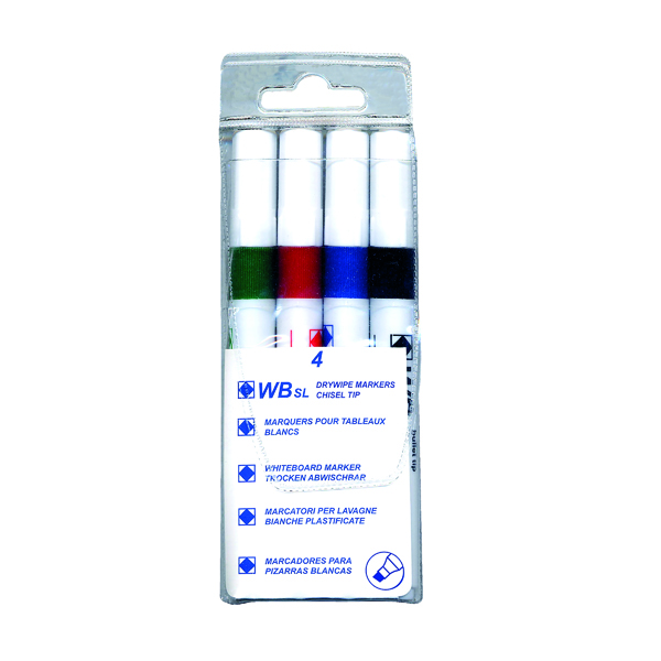 Assorted Whiteboard Markers Chisel Tip (Pack of 4) WX26038