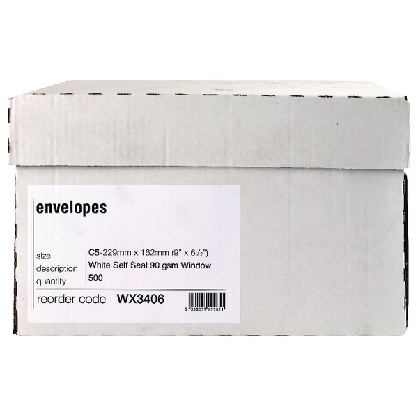 Envelope C5 Window 90gsm Self Seal White Boxed (Pack of 500) WX3406